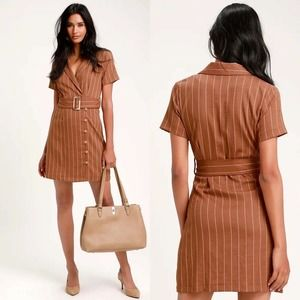 NWT Lulu's Raegan Rust Brown Stripe Shirt Dress